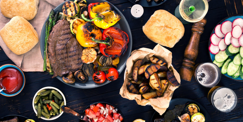 Super healthy grilled meal with variety of food
