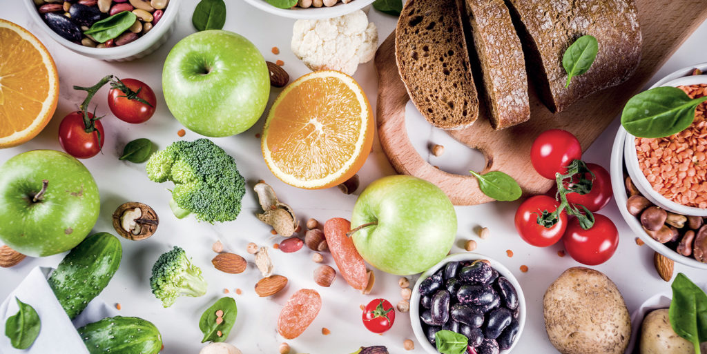 Photo of simple and complex carbs, apples, fruits, vegetables, nuts, etc