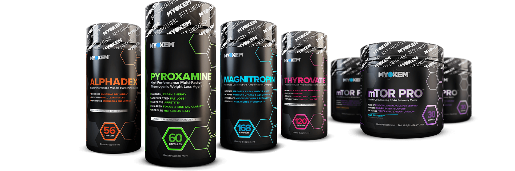 all myokem supplements in a row